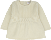 Baby Girl - 100% Cashmere Baby Doll Top With Knitted Waffle Detail and Tights