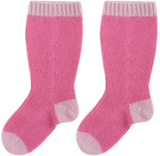 Baby Girl - Reagan 100% Cashmere Knitted Socks With Contrasting Hem, Heel And Toe
