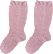 Baby Girl - 100% Cashmere Socks With Ribbed Hem