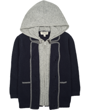 Boy - Cashmere Double Layered Coat Cardigan With Contrasing Trim And Hood