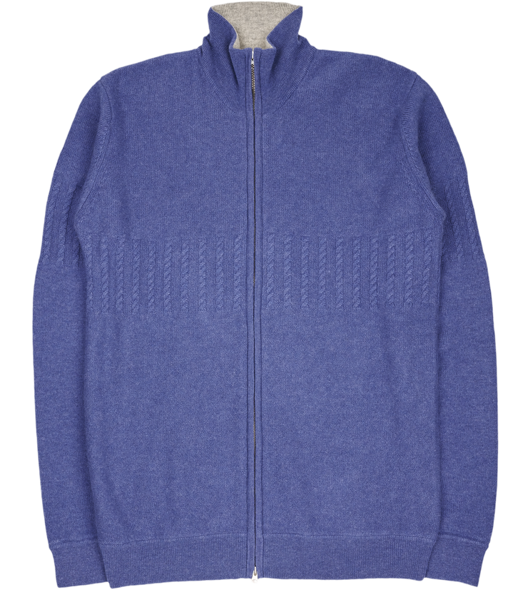 Mens Emanuele Cashmere High Neck Cardigan With Cable Knit Panels