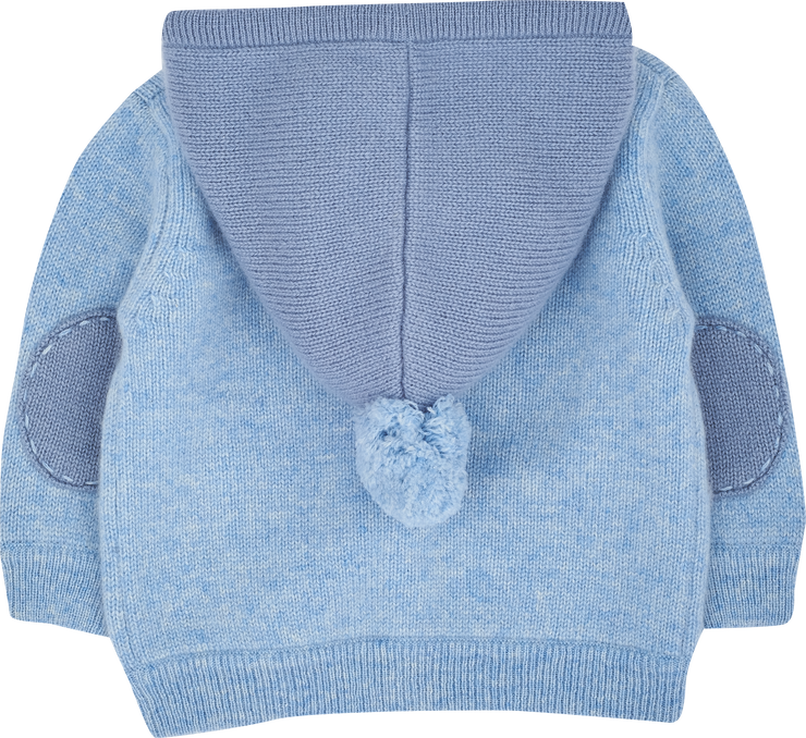 Baby Boy - Paolo Cashmere Cardigan Hoodie With Mitten Style Pockets
