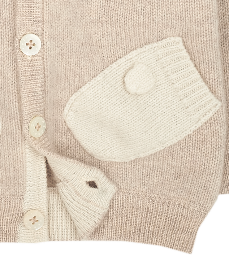 Baby Unisex - Cashmere Cardigan Hoodie With Mitten Style Pockets