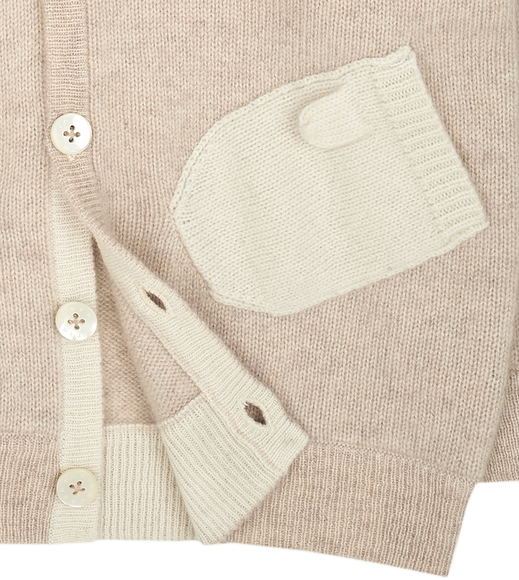 Unisex - 100% Cashmere Cardigan Hoodie With Mitten Style Pockets