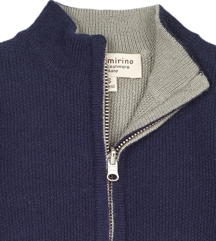Baby Boy - Malaga 100% Cashmere Reversible High Neck Cardigan