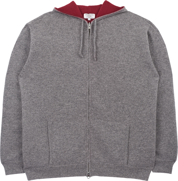Men - Cashmere Reversible Cardigan With Hoodie