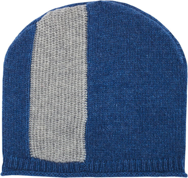 Baby Boy - Cashmere Knitted Hat With Cob Nut Stitches And Contrast Wide Vertical Stripe