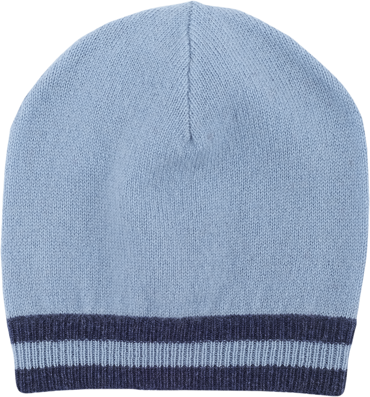 Baby Boy - Cashmere Hat With Contrasting Stripe Border