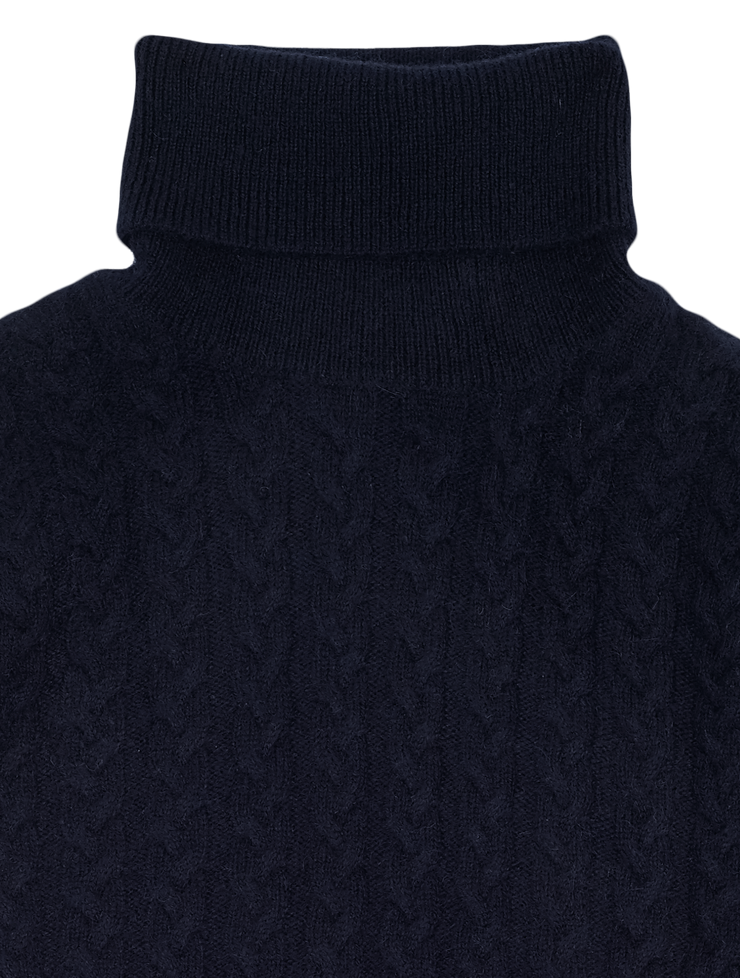 Boy - 100% Cashmere Cable Knit Roll Neck Jumper