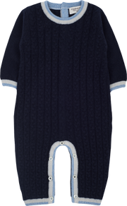 Baby Boy - Cashmere Cable Knit Romper With Contrast Trim