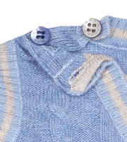 Baby Boy - 100% Cashmere Romper with Attached Cable Knit Slipover