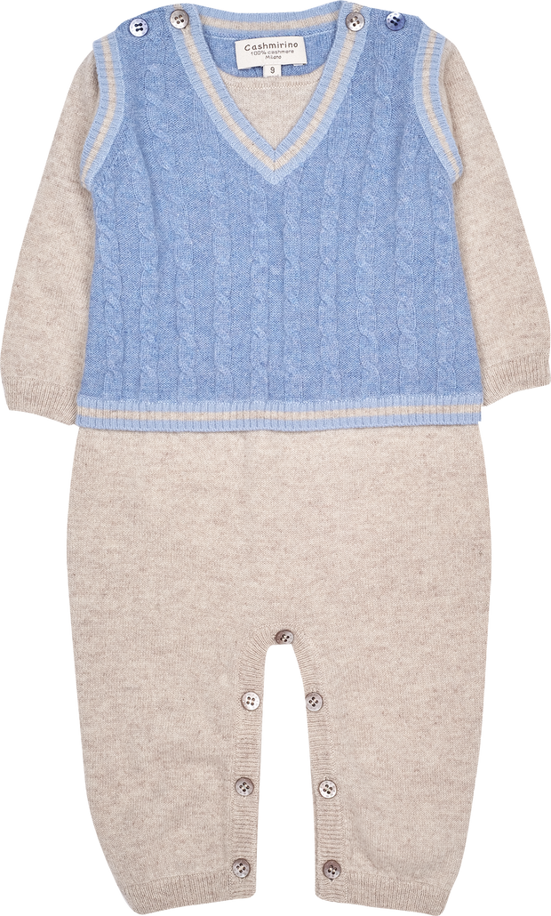 Baby Boy - Cashmere Romper with Attached Cable Knit Slipover
