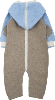 Baby Boy - 100% Cashmere Romper With Diamond Stitch Panel And Hood