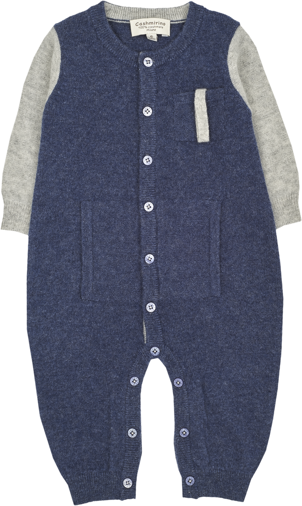 Baby Boy - Alberto Cashmere Romper With Pacifier Pocket