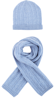 Boy - Peyton 100% Cashmere Cable Knit Hat And Scarf Set