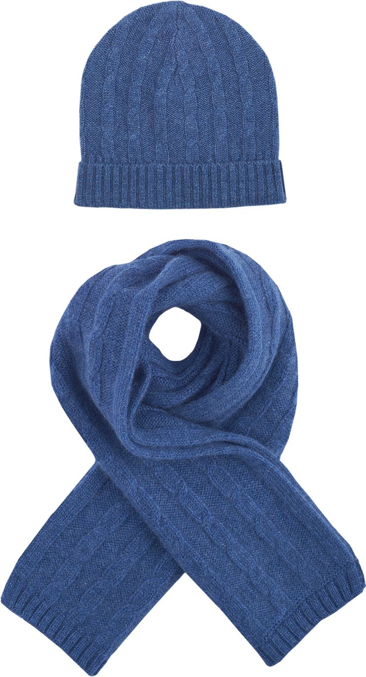Boy - Peyton Cashmere Cable Knit Hat And Scarf Set
