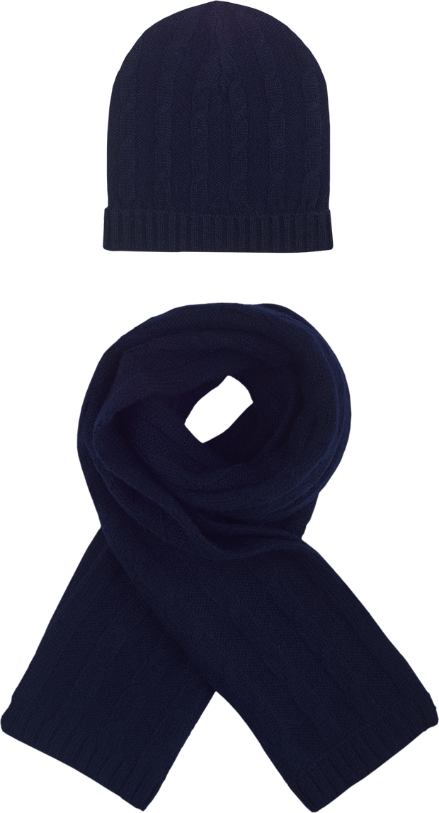 Boy - Bryson Cashmere Cable Knit Hat And Scarf Set