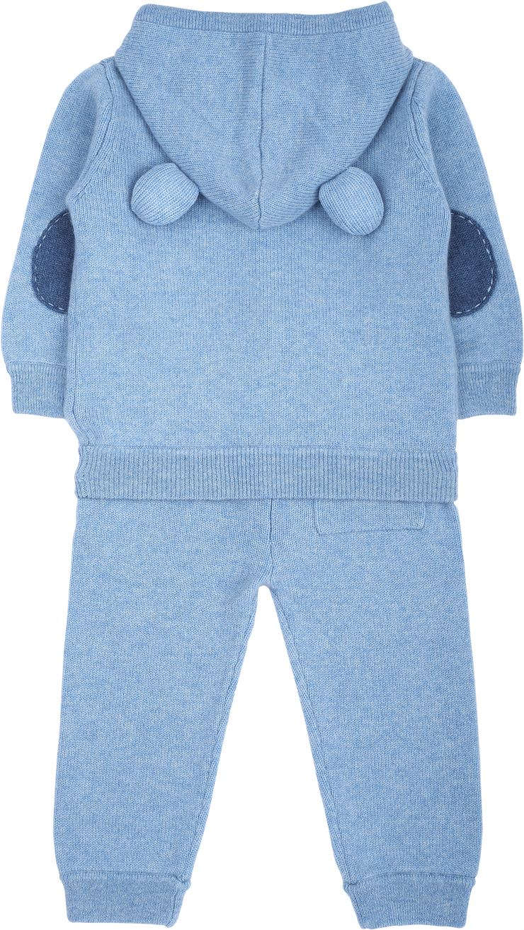 Boy - Zachary 100% Cashmere Teddy Bear Cardigan Hoodie with Matching Joggers Set