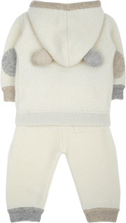 Baby Boy - 100% Cashmere Acorn Stitch Teddy Bear Hoodie With Matching Joggers Set