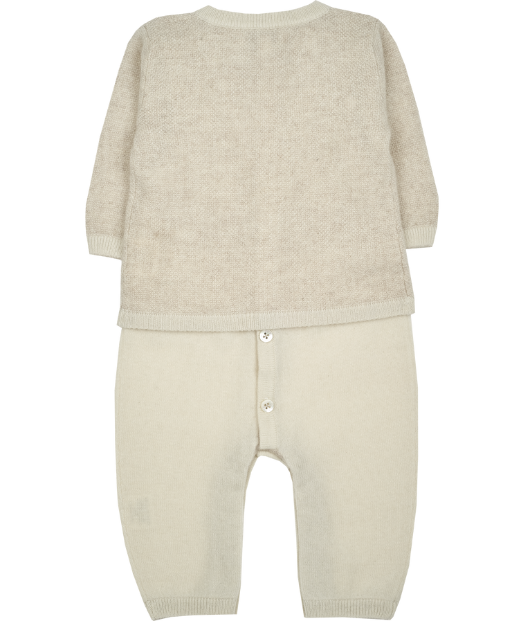 Baby Boy - 100% Cashmere Cardigan And Romper With Moss Tweed Stitch Detail Set