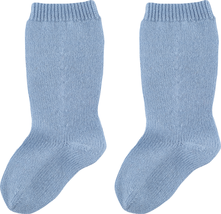 Baby Boy - Cashmere Socks With Contrasting Heel, Toe And Striped Ribbed Hem