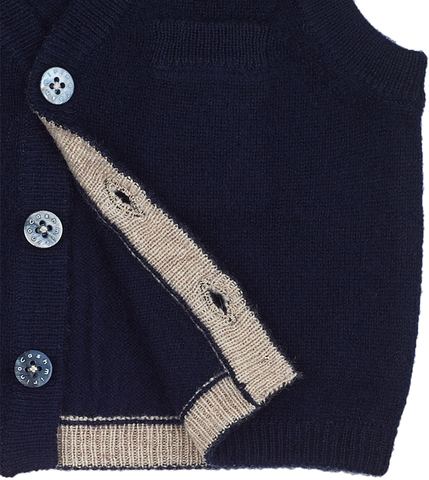 Baby Boy - Cashmere V-Neck Sleeveless Cardigan With Pocket