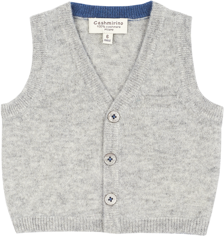 Baby Boy - 100% Cashmere V-Neck Sleeveless Cardigan With Pocket