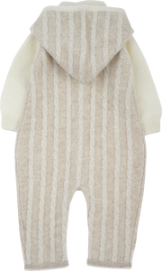 Baby Unisex - Cashmere Cable Knit Romper With Detachable Hood