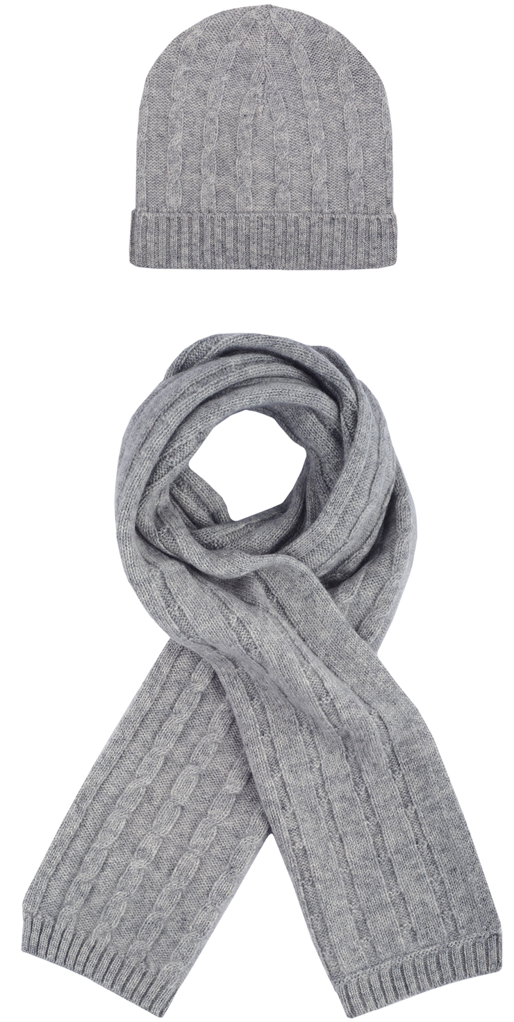 Unisex - Peyton Cashmere Cable Knit Hat And Scarf Set