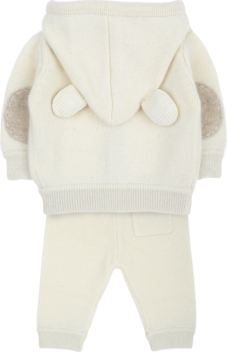 Baby Unisex - Zachary Cashmere Teddy Bear Hoodie With Matching Joggers Set
