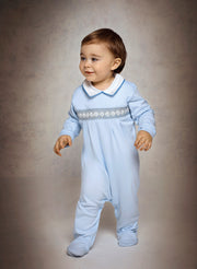 Baby Boy - Cotton Smocked Babygro With Pointed Flat Collar