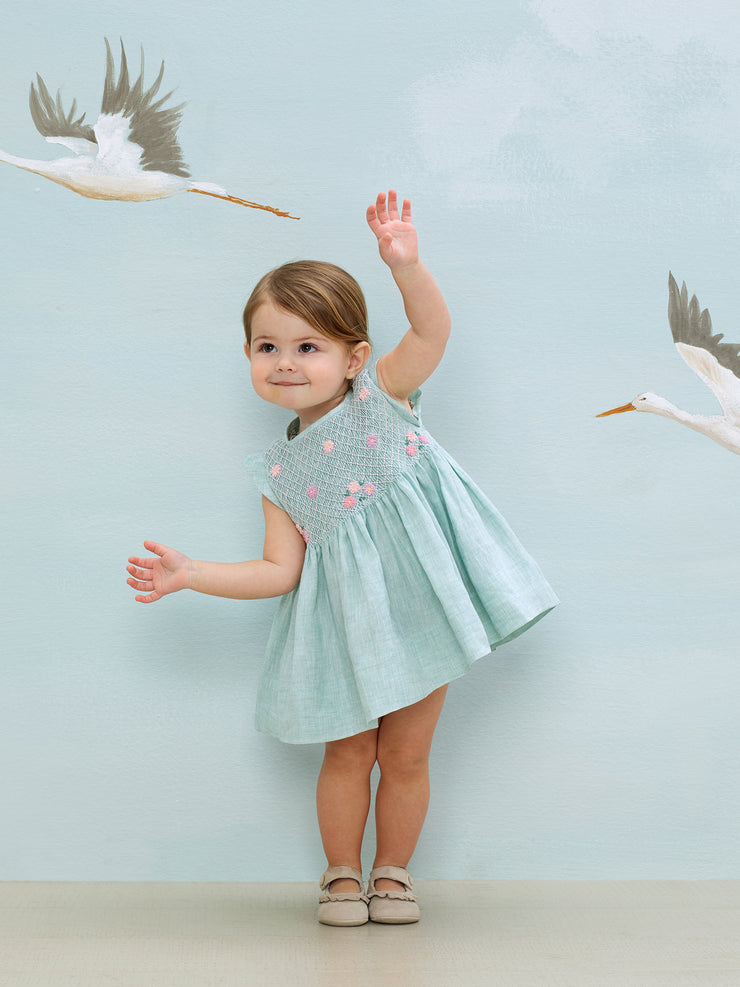 Baby Girl - Carolina 100% Linen smocked set