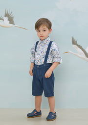Baby Boy - Oliver 100% Cotton Classic Collar Shirt With Sea Prints