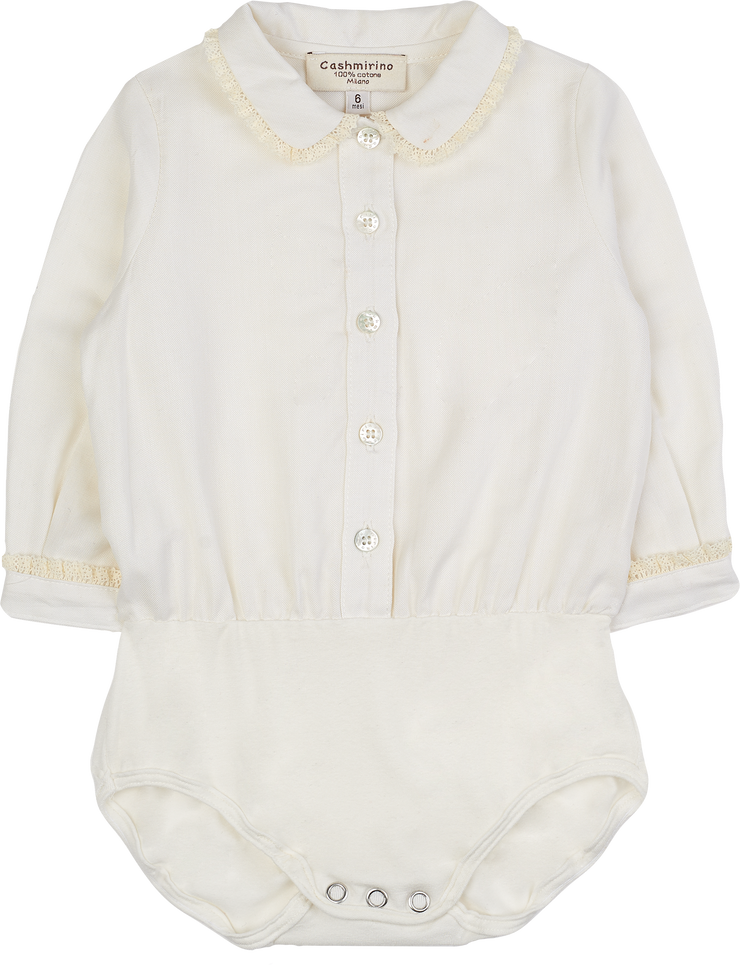 Baby Girl - 100% Cotton Bodysuit With Blouse with lace trim collar and cuffs