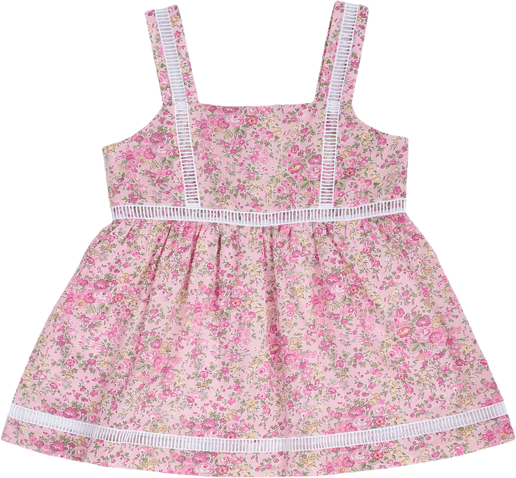 Girl - Cotton Baby Doll Top With Straps And Insert Panels