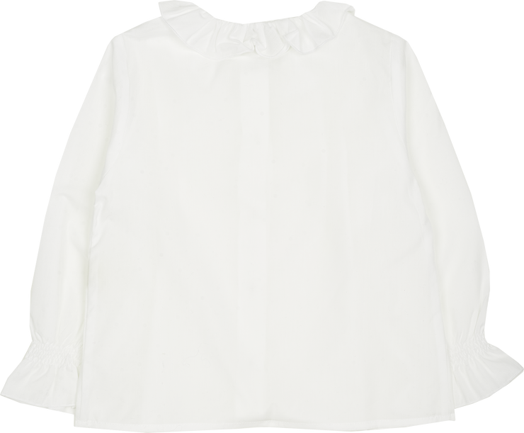Girl - Callie Cotton Blouse With Pleats and Ruffle Collar