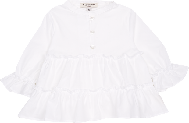 Baby Girl - Cotton Grandad Collar Frilled Blouse