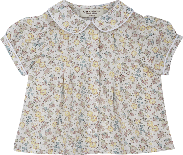 Baby Girl - Perrie Cotton Blouse With Trim Peter Pan Collar