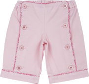 Baby Girl - 100% Cotton Bermuda Shorts With Floral And Button Detail