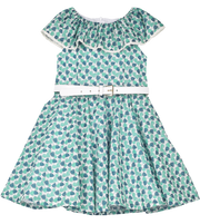 Girl - Cotton Liberty Sleeveless Dress with Ruffle Collar