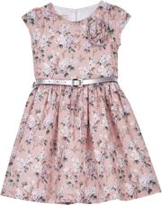 Girl - 100% Cotton Liberty Dress With Cap Sleeves And Belt