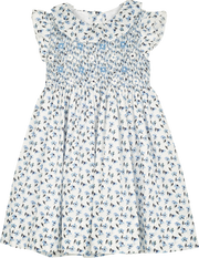 Girl - Gioia Hand Embroidered 100% Cotton Smocked Dress In Daisy Print