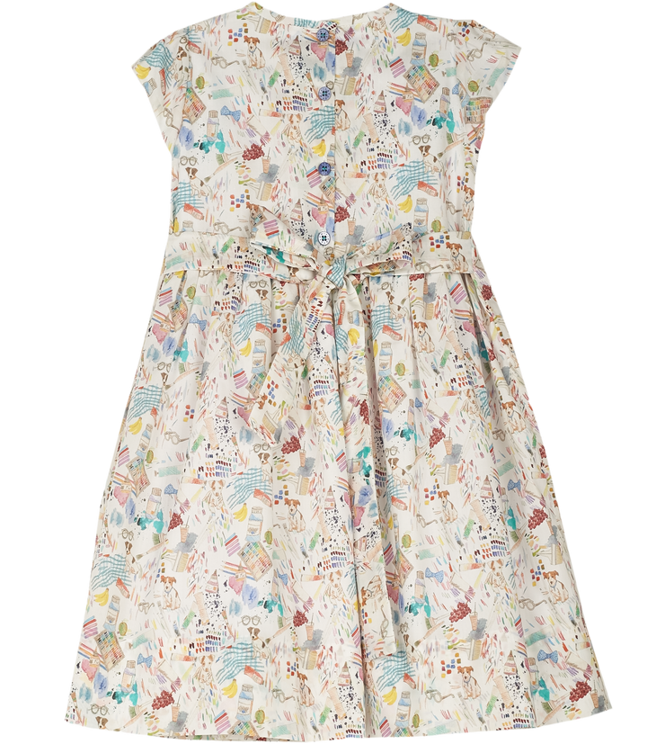 Girl - Louise Hand Embroidered 100% Cotton Smocked Dress In Artsy Liberty Print
