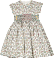 Baby Girl - Veronica Hand Embroidered 100% Cotton Smocked Dress In Heartlocket Liberty Print