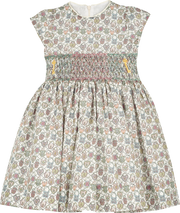 Girl - Veronica Hand Embroidered 100% Cotton Smocked Dress In Heartlocket Liberty Print