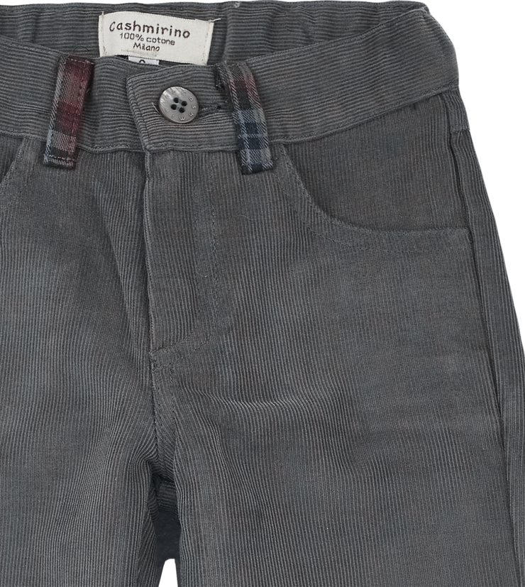 Baby Boy - Josh 100% Cotton Corduroy Trousers With Checked Turn Ups