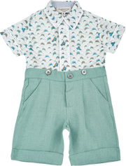 Baby Boy - Cotton Short Sleeve Shirt And Linen Bermuda Shorts Set
