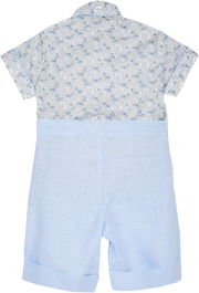 Baby Boy - Cotton Classic Collar Shirt With Handkerchief And Bermuda Shorts Set
