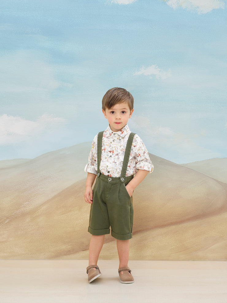 Boy - Oliver 100% Cotton Classic Collar Shirt With Playtime Prints