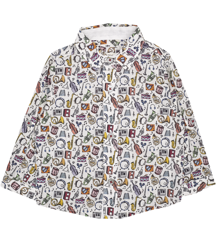 Baby Boy - Oliver Cotton Classic Collar Shirt With Gala Prints